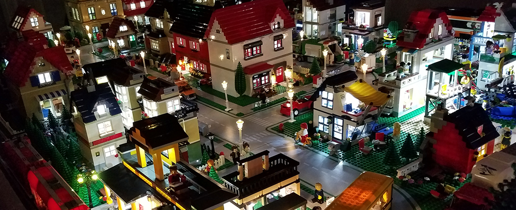 Small portion of downtown LEGO® city with LED lights